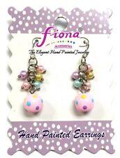 Pink Easter Egg Polka Dot Handmade Glass Bead cluster earring New with Gift Bag