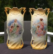 Pair Antique Victorian Porcelain Vases Embossed Double Handled 2926 Germany