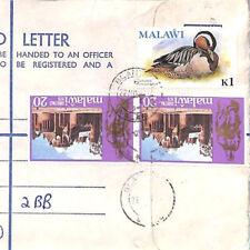 BQ26 World Stationery 1978 MALAWI Blantyre Registered Airmail Cover Note 1k BIRD