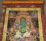 Wunderschönes THANGKA aus Nepal: Grüne TARA in Brokat! 110x66cm, Lupenmalerei!