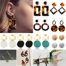 Women Boho Geometric Leopard Dangle Drop Hook Round Ear Stud Earrings Jewelry