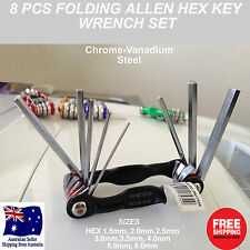 8PC Heavy Duty Folding Hex Key Set Allen tools Wrench allan pocket chrome tool