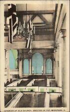 Wickford RI Church Interior Hand Colored Postcard