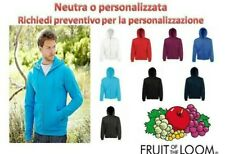 Felpa Con Cappuccio e Zip Cerniera Lunga Uomo Fruit of The Loom Felpata Cotone