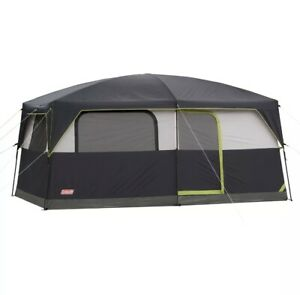 Coleman Prairie Breeze 9-Person Cabin Tent with Built-In LED Light and Integr...