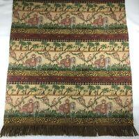 "Vtg NEEDLEPOINT Jungle Monkey Elephant Birds Tapestry Throw Rug 46"" x 53"""