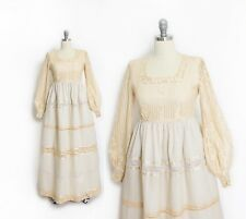 Vintage 1960s Wedding Dress - Champagne Lace Beige Full Skirt Boho Gown S