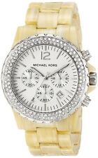NEW MICHAEL KORS MADISON RESIN HORN BAND,WHITE,BEIGE CRYSTAL DIAL WATCH MK5598