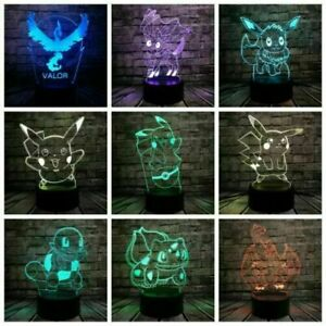 Pokemon Pikachu Mewtwo 3D Acrylic LED 7 Colour Night Light Touch Table Lamp Gift