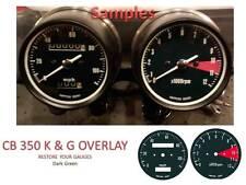 Honda CB350 K or G Overlay Cafe Gauge Face Decal Applique MPH Dial Clocks GREEN