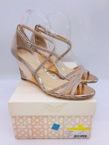 Jewel by Badgley Mischka Hunt Wedge Dress Slingback Sandal Rose Gold US 8.5M