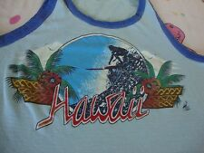 Vintage POLY TEES Hawaii Surfing Surfboard Parrot T shirt TANK TOP Size M
