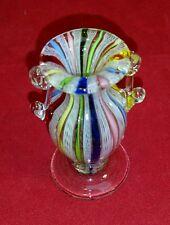 VTG  Murano Venice Italy - Art Glass - Small Latticino Vase Original SIGNED ?