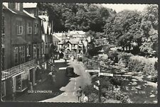 Postcard Old Lynmouth nr Lynton Devon signpost and shops RP
