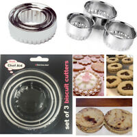 3 Cookie Cutter Frill Plunger Mold Kids Bake Stainless Steel Mold Biscuit Xmas