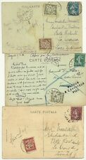 1924/8  FRANCE x 3 INTERNAL PPCS WITH 3 DIFF POSTAGE DUES 10 20 & 30c