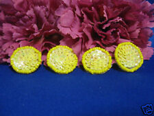 SET OF 4 YELLOW DOT SEQUIN BEADED APPLIQUES 0934-T1