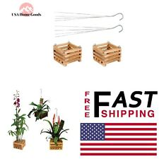 Wooden Square Hanging Baskets 6 in. (2-Pack) Home Outdoor Garden Plant Wood Pot