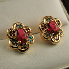 18ct Gold Filled Flower Stud Earrings with Ruby Red Garnet Turquoise Gems UK 420