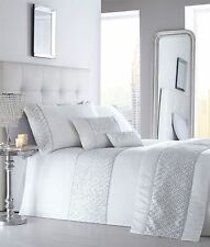 Luxury Diamante Trim Duvet Quilt Cover Bedding Set Shimmer