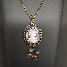ANTIQUE BRONZE TONE PURPLE CAMEO BUTTERFLY GIRL LADY BEAUTIFUL FACE NECKLACE