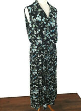 M&S Size 20 Black Blue Floral Ditsy Sleeveless Long Maxi Dress Belt Party Summer