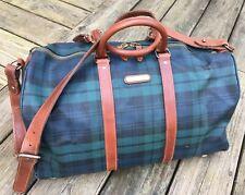 VTG POLO Ralph Lauren Plaid PVC Leather Carry On Weekender Duffle Bag
