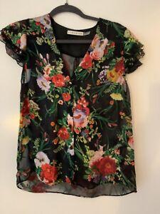 Alice + Olivia Black Silk Blend Women's Floral Cap Sleeve Top Size S