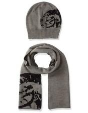 New with Tag - $98 DIESEL Grey Unisex Beanie Logo Hat & Scarf Set
