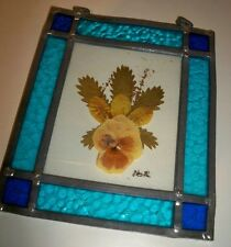 Handcrafted Stained Glass Picture W Dried Flower~Pansy ~Window Art~ Sun catcher