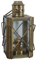 "Vintage Brass & Glass Kerosene Oil Lantern Hanging Lamp Carriage Stagecoach 10"""