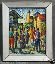 Early 20th Century American Pointillism-Style Figural Scene