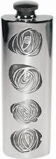 3oz Charles Rennie Mackintosh Roses Design Pewter Hip Flask. By Wentworth