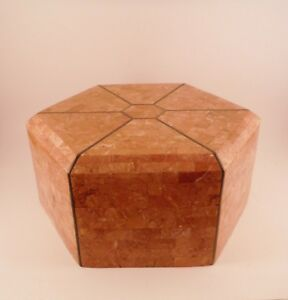 Vntg Beautiful and Large Vintage Rose Marble Hexagon Dresser Box Chest Handmade