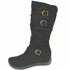 Womens Ladies Suede Boots Flat Mid Calf Winter Boots Riding Zip Shoes Size D-444
