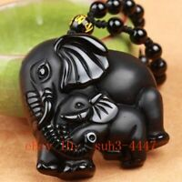 Natural Black Obsidian Cute Elephant Hand Carved Pendant + Lucky Beads Necklace