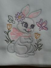 HAND MADE  EMBROIDERED  SPRING BUNNY WHITE BABY FLEECE  CAR SEAT CRIB PRAM