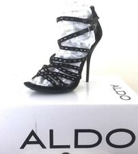 Super Stunning Aldo Sandals Black High Strappy Ankle Studded  Brand New Size 5