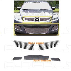 For 2007 08 09 Mazda Cx-7 CX7 Upper 2p+Bumper 3p Billet Grille Insert bolt over