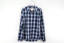 Lacoste Live Mens Size 38 Skinny Fit Long Sleeve Button Dress Shirt Blue Plaid