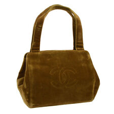 Authentic CHANEL CC Logos Hand Tote Bag Purse Brown Gold Velvet Vintage 807344