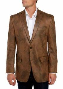 Michael Kors Men Jacket Blazer Distressed Dyed Faux Leather Stretch Sport Coat