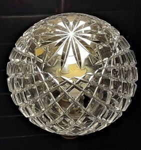 Rare French Vianne Round Clear Lead Crystal Light Cover Diamond Pattern France