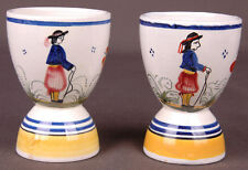 Set of 2 Henriot Quimper French 212 Double Egg Cups-Art Pottery Painted-Vtg-Pair