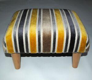 Biagi Upholstery & Design Stripe Chenille Footstoolon Solid Wood Legs