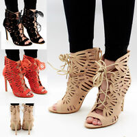 Womens Ankle Strap Sandals Stiletto Mid High Heel Ladies Peep Toe Party Shoes