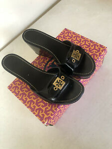 EUC Tory Burch Patent Leather Wooden Wedge Slide On Sandals Size 7.5