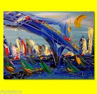 BLUE CITY ORIGINAL OIL Painting  Stretched RUSSIAN IMPRESSIONIST AS345y