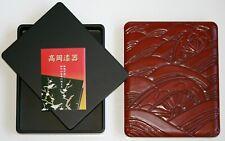 New LACQUERWARE URUSHI CALLIGRAPHY BOX Carved Wood Suzuri-bako Writing Box JAPAN