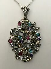 Kanishka Sterling 925 Swarovski Marcasite Flowers Red Teal Purple Green Necklace